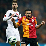 Galatasaray's Selcuk Inan (R) during their Turkish Super League soccer match Galatasaray between Genclerbirligi at the TT Arena at Seyrantepe in Istanbul Turkey on Friday, 08 March 2013. Photo by Aykut AKICI/TURKPIX