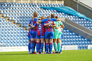 Crystal Palace LFC players huddle before the FA Women's Championship match between Sheffield United Women and Crystal Palace Women at Sir Tom Finney Stadium, Preston, United Kingdom on 1 November 2020.