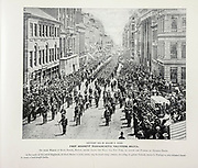"""FIRST REGIMENT MASSACHUSETTS VOLUNTEER MILITIA On their March up State Street, Boston, before taking the Train for New York, to attend the Funeral of General Grant, from The American Civil War book and Grant album : """"art immortelles"""" : a portfolio of half-tone reproductions from rare and costly photographs designed to perpetuate the memory of General Ulysses S. Grant, depicting scenes and incidents in connection with the Civil War Published  in Boston and New York by W. H. Allen in 1894"""