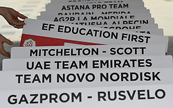 February 24, 2019 - Abu Dhabi, United Arab Emirates - A table with all teams names ready ahead of the Team Time Trial, the opening ADNOC stage of the inaugural UAE Tour 2019..On Sunday, February 24, 2019, Abu Dhabi, United Arab Emirates. (Credit Image: © Artur Widak/NurPhoto via ZUMA Press)