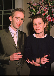 MR JAMES LINGWOOD of Artangel and his wife the HON.JANE HAMLYN daughter of Paul Hamlyn, at a party in London on 19th March 1998.MGE 20