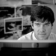 Brussels, Belgium, Jan 30, 2009, Man working at the office. PHOTO © Christophe Vander Eecken