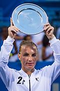 Champion Svetlana Kuznetsova, of the Russian Republic, holds her trophy at the Citi Open tennis tournament at the Fitzgerald Tennis Center in Washington, DC, USA, 05 August 2018.  Kuznetsova won the women's singles title 4-6, 7-6(9-7), 6-2.