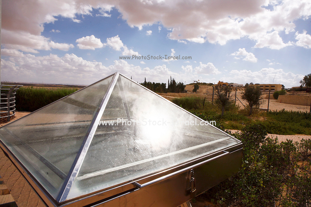 Nitzana Ecological Village, Water Desalination evaporation. A simple way of distilling water using the hothouse effect and the powerful sun