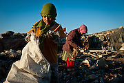 Children pick through garbage for valuable recyclables. The children are part of a displaced community of Shia from Iraq's south who have made their home for years on a garbage dump on the outskirts of Baghdad.