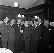 27/01/1962<br /> 01/27/1962<br /> 27 January 1962<br /> Presentation College, Cork P.P.U. (Dublin Branch) Dinner at Jammets restaurant, Dublin. Picture shows some of the attendees (L-R): Mr. T. O'Gorman; Dr N.G. Nolan, Vice-President; Mr. E. Murphy; Padraig O'Caoimh, President; Fr. Ernest O.F.M., Spiritual Director; Dr. Austin; Mr. Frank Gallagher, outgoing President; Mr. D.F. O'Farrell, Honorary Treasurer; Commandant F. O'Driscoll; Major General Sean Collins-Powell and Mr. Leo Dillon who represented the Enniskillen Presentation Brothers P.P.U..