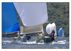 The third days racing at the Bell Lawrie Yachting Series in Tarbert Loch Fyne. Perfect conditions finally arrived for competitors on the three race courses...Swan 45's GBR945R Fever and GBR92R Murka.