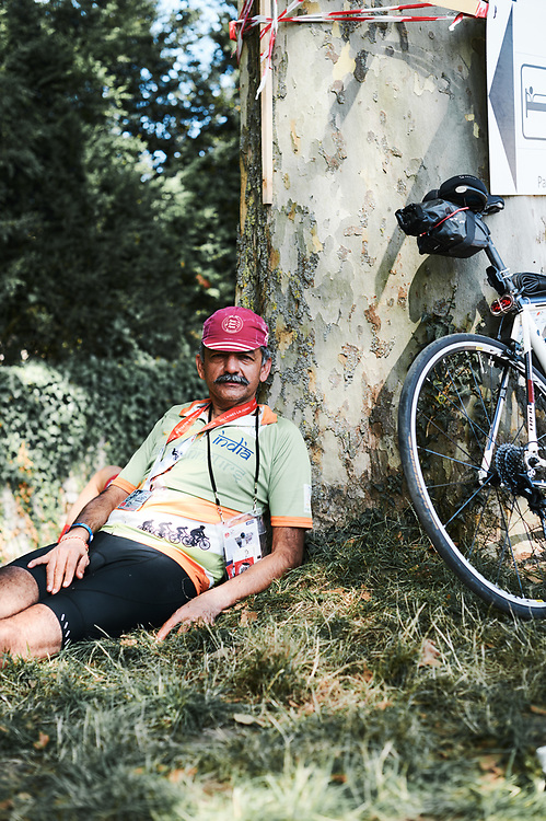 Rider Anil Puri, after finishing the PARIS-BREST-PARIS Randonneur race. Rambouillet, France. August 22, 2019.
