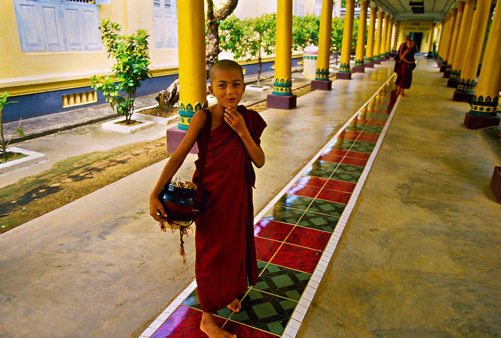 Young novice monk, Kya Khat Wine Monastery, Bago (Pegu), Burma, Myanmar