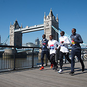 Daniel Wanjiru , Keninisa Bekele,Eliud Kipchoge, Guye Adola - Elite men photocall - Virgin Money London Marathon at Tower Hill on 19 April 2018, London, UK.