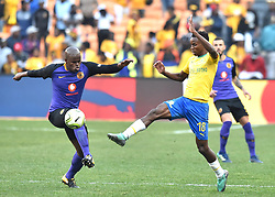 Kaizer Chiefs Willard Katsande and Mamelodi Sundowns players Themba Zwane battle for the ball during the Shell Helix Ultra Cup at FNB stadium, Johannesburg.<br />Picture: Itumeleng English/African News Agency (ANA)