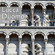 Pictures of Romanesque Lucca Cathedral Duomo of San Martino (Martin), Tuscany, Italy.