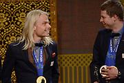 Officiele Huldiging van de Olympische medaillewinnaars Sochi 2014 / Official Ceremony of the Sochi 2014 Olympic medalists.<br /> <br /> Op de foto:  Sven Kramer en Koen Verweij