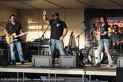 The Thirsty Fish band performs in the Crossroads area of the Buffalo Chip during the annual Sturgis Black Hills Motorcycle Rally. SD, USA. Thursday, August 11, 2016. Photography ©2016 Michael Lichter.