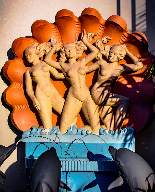 A spectacular fountain at the Miami Modern (MiMo) style Vagabond Motel built in 1953. The architect was Robert Swartburg, who also designed The Delano Hotel in South Beach. The sculpture is by Jan Stacholy.