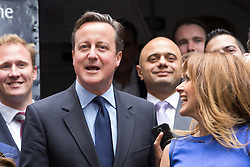 © Licensed to London News Pictures. 23/06/2015. London, UK. DAVID CAMERON at the launch of the Start-Up Britain campaign routemaster bus in Downing Street, London with Prime Minister, David Cameron. Over five weeks the routemaster bus will visit 30 towns and cities - including Aberdeen, Inverness, Swansea York and Leeds - and aim to engage with 15,000 individuals through workshops and networking events, making them aware of the assistance Start-Up Britain can offer. Photo credit : Vickie Flores/LNP