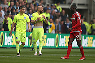 Brighton defender, Bruno Saltor (2)  during the Sky Bet Championship match between Middlesbrough and Brighton and Hove Albion at the Riverside Stadium, Middlesbrough, England on 7 May 2016. Photo by Simon Davies.