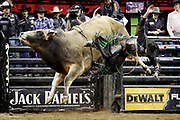 J.B. Mauney rides High Pockets during the Professional Bull Riders, Built Ford Tough Series at the Sprint Center, Saturday, Feb. 11, 2017, in Kansas City, Mo. (AP Photo/Colin E. Braley)