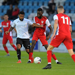 TELFORD COPYRIGHT MIKE SHERIDAN Ellis Deeney on the ball for Telford during the National League North fixture between AFC Telford United and Kidderminster Harriers on Tuesday, August 6, 2019.<br /> <br /> Picture credit: Mike Sheridan<br /> <br /> MS201920-006