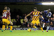 Bradford City defender James Meredith (3) tackling Southend United striker Marc-Antoine Fortune (14) during the EFL Sky Bet League 1 match between Southend United and Bradford City at Roots Hall, Southend, England on 19 November 2016. Photo by Matthew Redman.