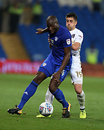 Pablo Hernandez of Leeds Utd (l) challenges Sol Bamba of Cardiff city. EFL Skybet championship match, Cardiff city v Leeds Utd at the Cardiff city stadium in Cardiff, South Wales on Tuesday 26th September 2017.<br /> pic by Andrew Orchard, Andrew Orchard sports photography.