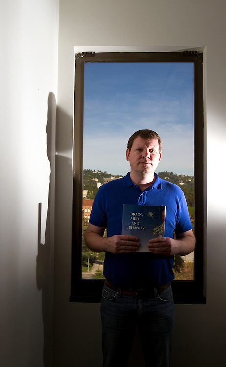 Portrait of UCLA Professor David Jentsch in his office. Jentsch does extensive research on areas of the brain that deal with addiction and obsessive compuslive disorders.