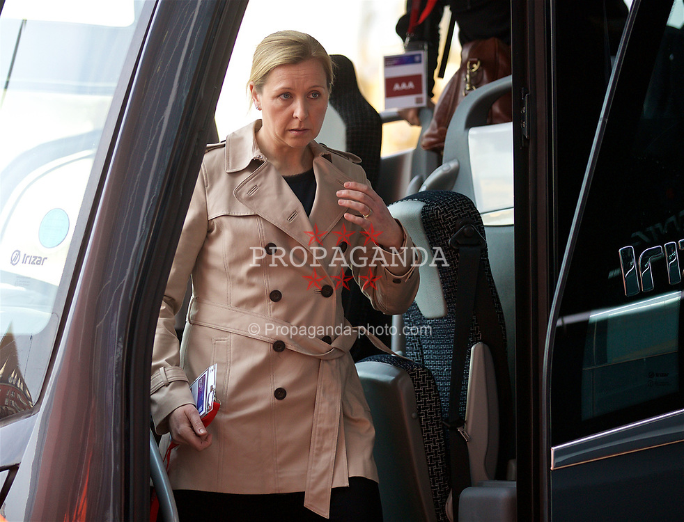 SOUTHAMPTON, ENGLAND - Friday, April 6, 2018: Wales' manager Jayne Ludlow arrives before the FIFA Women's World Cup 2019 Qualifying Round Group 1 match between England and Wales at St. Mary's Stadium. (Pic by David Rawcliffe/Propaganda)