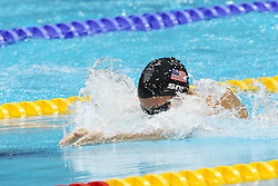 Ruta Meilutyte of Lithuania on her way to winning gold during the women's 100m Breaststoke final  held at the aquatics centre at Olympic Park  in London as part of the London 2012 Olympics on the 30th July 2012.Photo by Ron Gaunt/SPORTZPICS