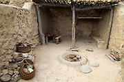 Reconstruction of buildings, Los Millares prehistoric Chalcolithic settlement archaelogical site, Almeria, Spain