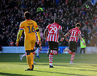 Lincoln City's Bruno Andrade celebrates scoring the opening goal<br /> <br /> Photographer Andrew Vaughan/CameraSport<br /> <br /> The EFL Sky Bet League Two - Lincoln City v Northampton Town - Saturday 9th February 2019 - Sincil Bank - Lincoln<br /> <br /> World Copyright © 2019 CameraSport. All rights reserved. 43 Linden Ave. Countesthorpe. Leicester. England. LE8 5PG - Tel: +44 (0) 116 277 4147 - admin@camerasport.com - www.camerasport.com