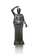 Roman Bronze sculpture of a Dancing Women from the square peristyle of the Villa of the Papyri in Herculaneum, Museum of Archaeology, Italy ..<br /> <br /> If you prefer to buy from our ALAMY STOCK LIBRARY page at https://www.alamy.com/portfolio/paul-williams-funkystock/greco-roman-sculptures.html . Type -    Naples    - into LOWER SEARCH WITHIN GALLERY box - Refine search by adding a subject, place, background colour, etc.<br /> <br /> Visit our ROMAN WORLD PHOTO COLLECTIONS for more photos to download or buy as wall art prints https://funkystock.photoshelter.com/gallery-collection/The-Romans-Art-Artefacts-Antiquities-Historic-Sites-Pictures-Images/C0000r2uLJJo9_s0
