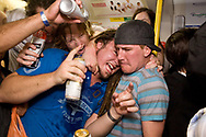 Last orders on the tube party/demo which was organised via the internet to mark the last day that you can drink alcohol on public transport in London. The party atmosphere soon broke down into one vandalism and general misbehaviour. A number of tube staff and police where assault and stationed where closed.