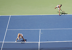 NEW YORK, Sept. 11, 2017  Lucie Hradecka (R) and Katerina Siniakova of the Czech Republic compete during the women's doubles final match against Yung-Jan Chan of Chinese Taipei and Martina Hingis of Switzerland at the 2017 US Open in New York, the United States, Sept. 10, 2017. Yung-Jan Chan and Martina Hingis won 2-0 to claim the title. (Credit Image: © Wang Ying/Xinhua via ZUMA Wire)