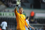 Jack Butland, the England goalkeeper looks on. UEFA 2015 European U21 championship, group one qualifier , Wales u21 v England u21 at the Liberty Stadium in Swansea, South Wales on Monday 19th May 2014. <br /> pic by Andrew Orchard, Andrew Orchard sports photography.