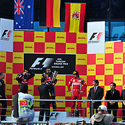 Red Bull Formula One driver Sebastian VETTEL of Germany holds up his trophy as he celebrates after winning the Turkish F1 Grand Prix at the Istanbul Park circuit in Istanbul May 8, 2011. Photo by TURKPIX