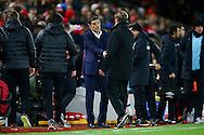 West Ham United Manager Slaven Bilic and Liverpool Manager Jurgen Klopp shake hands at the final whistle. Premier League match, Liverpool v West Ham Utd at the Anfield stadium in Liverpool, Merseyside on Sunday 11th December 2016.<br /> pic by Chris Stading, Andrew Orchard sports photography.