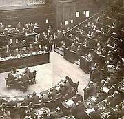 Benito Mussolini (1883-1945) Italian Fascist dictator, addressing the Italian Parliament c1932.