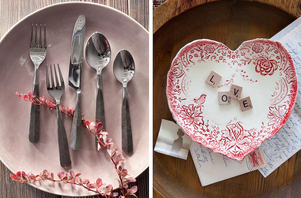 Valentine themed ceramic plate, flatware and dish