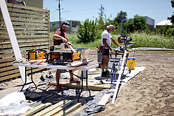 26 August 2015. New Orleans, Louisiana. <br /> Hurricane Katrina revisited. <br /> Rebuilding the Lower 9th Ward. <br /> Another eco friendly 'Make it Right' house takes shape.  'Make it Right' homes inspired by actor Brad Pitt continue to provide hope for the rebirth of the community following the devastation of hurricane Katrina a decade earlier.<br /> Photo credit©; Charlie Varley/varleypix.com.
