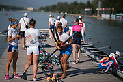 Plovdiv BULGARIA. 2017 FISA. Rowing World U23 Championships. <br /> <br /> Wednesday. AM, general Views, Course, Boat Area. Italian crew preparing to boat.<br /> 08:52:47  Wednesday  19.07.17   <br /> <br /> [Mandatory Credit. Peter SPURRIER/Intersport Images].