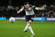 Derby County defender Scott Malone (46) crosses the ball during the EFL Sky Bet Championship match between Derby County and Sheffield Wednesday at the Pride Park, Derby, England on 11 December 2019.