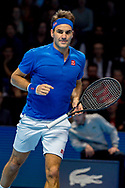 Roger Federer of Switzerland fist pumps and celebrates after winning his match during the Nitto ATP World Tour Finals at the O2 Arena, London, United Kingdom on 13 November 2018.Photo by Martin Cole