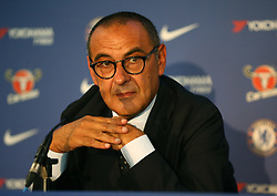 July 18, 2018 - London, England, United Kingdom - Maurizio Sarri, manager of Chelsea during a press conference at Stamford Bridge Ground,  London on 18 July , 2018..(Photo by Action Foto Sport / Nur Photo) (Credit Image: © Action Foto Sport/NurPhoto via ZUMA Press)