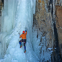 "ICE CLIMBING, Dougal McCarty on ""Elevator Shaft"", Hyalite Canyon, Montana."