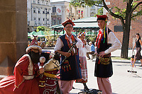 Musicians with Lajkonik in the Market Square in Krakow Poland