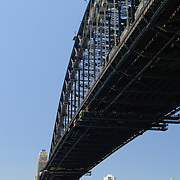 Sydney Harbour Bridge from Dawes Point Park in the historic Rocks district in downtown Sydney