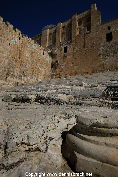 The Huldah Gates, Two Southern gates provided access to the Temple Mount. Built during the second Temple period in the first century BCE.  This is the area that Jesus Christ most likely walked on his way to the Temple.<br /> Photo by Dennis Brack