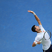 2016 U.S. Open - Day 12  Novak Djokovic of Serbia serving against Gael Monfils of France in the Men's Singles Semifinal match on Arthur Ashe Stadium on day twelve of the 2016 US Open Tennis Tournament at the USTA Billie Jean King National Tennis Center on September 9, 2016 in Flushing, Queens, New York City.  (Photo by Tim Clayton/Corbis via Getty Images)