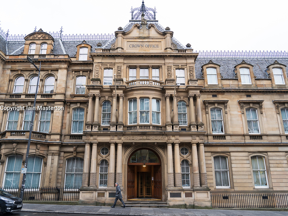 Exterior of the Crown Office building on Chambers Street in Edinburgh, Scotland, UK