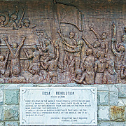 "Wall carving depicting the Filipino's ""People Power"" Edsa Revolution, which led to the overthrow of the dictator Ferdinand Marcos."